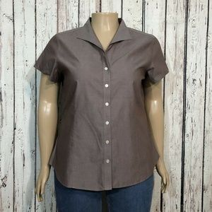 Coldwater Creek Tailored Brown Button Front Shirt